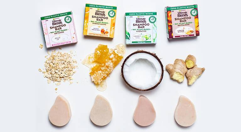 Garnier Ultimate Blends solid shampoo bar range pack shots, Hydrating Coconut, Ginger Recovery, Delicate Oat and Honey Treasures